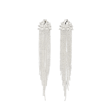 Silver colour tassel drop earrings | River Island