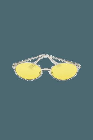 Yellow and Silver Sunglasses - Round Sunglasses - Oval Sunglasses - Lulus