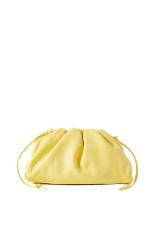 Pastel yellow The Pouch small gathered leather clutch | Bottega Veneta | NET-A-PORTER