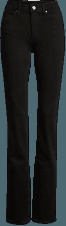 PAIGE Transcend - Hoxton High Waist Straight Leg Jeans (Black Shadow) | Nordstrom