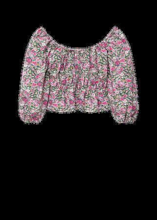 Printed puff sleeve blouse - Women | Mango USA