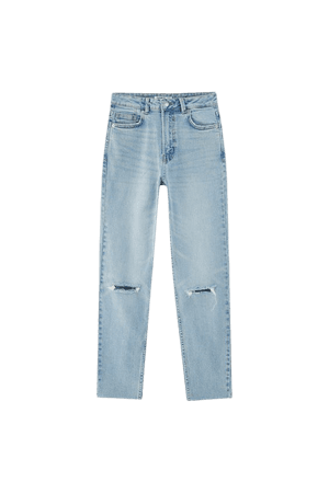 Ripped slim fit mom jeans - pull&bear
