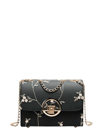 Floral Embroidered Flap Chain Bag | SHEIN USA