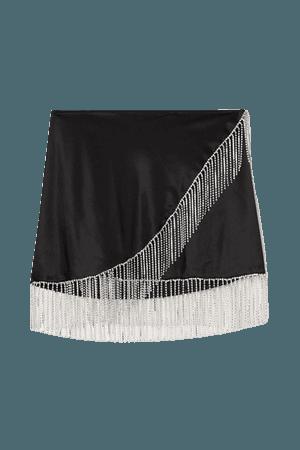 Crystal-embellished Satin Mini Wrap Skirt - Black