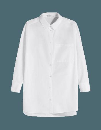 Oversize long sleeve shirt with pocket - Shirts - Woman | Bershka