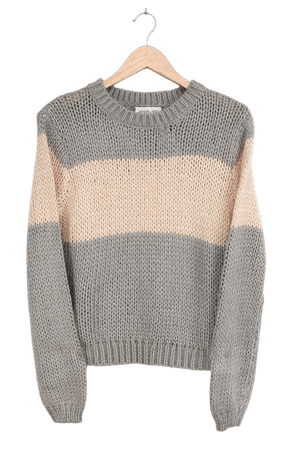Cute Grey and Ivory Sweater - Color Block Sweater - Knit Sweater - Lulus