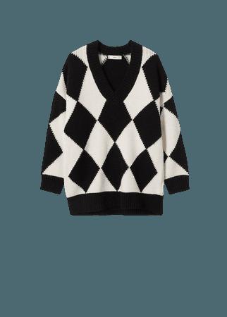 Rhombus knit sweater - Women | Mango USA