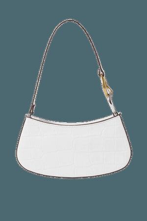 Ollie Croc-effect Leather Shoulder Bag - White