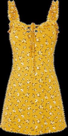 Mustard Floral Print Frill Detail Shift Dress   PrettyLittleThing USA