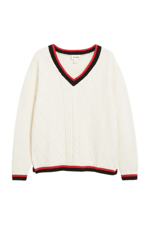 Cable knit sweater - White with stripe details - Jumpers - Monki WW
