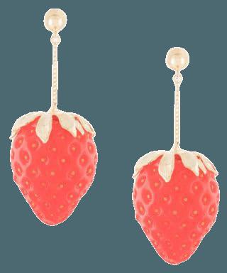 E.M. strawberry pendant earrings red EMZ2AP53 - Farfetch