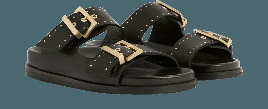 ALLSAINTS US: Womens Mae Leather Sandals (black)