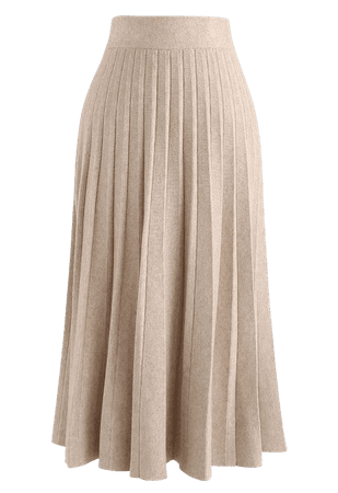 Parallel A-Line Knit Midi Skirt in Sand - Retro, Indie and Unique Fashion