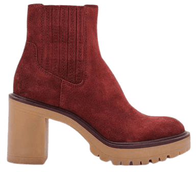 CASTER H2O BOOTIES IN MAROON SUEDE – Dolce Vita