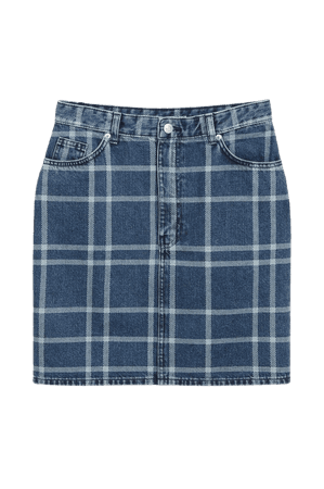 Denim mini skirt - Check pattern - Mini skirts - Monki WW