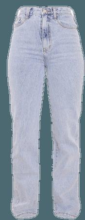 Light Blue Wash High Waist Straight Leg Jeans | PrettyLittleThing USA