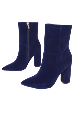 Blue Velvet Pointed Toe Mid Calf Boots - Block Heel Boots - Lulus