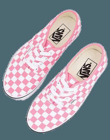 Vans Authentic checkerboard sneakers in pink | ASOS