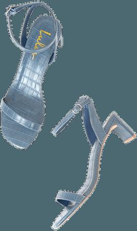 Blue Crocodile Heels - Ankle Strap Heels - High Heel Sandals - Lulus