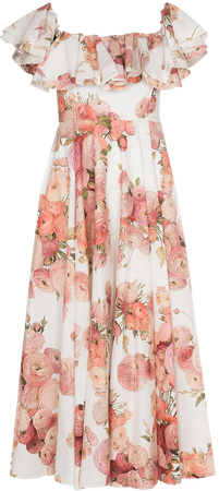 Shop white & pink Giambattista Valli floral-print off-shoulder dress with Express Delivery - Farfetch