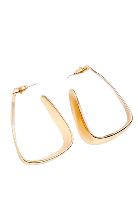 Gold Squared Medium Hoop Earrings | PrettyLittleThing USA