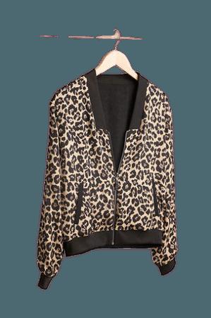 Stella & Dot Reversible Bomber - Leopard Black