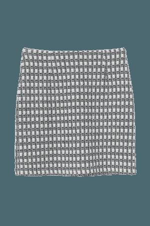 Jacquard-knit Skirt - White/black plaid - Ladies | H&M US