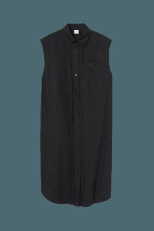 Sleeveless Shirt Dress - Black