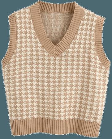 RK-HYTQWR Women Houndstooth Plaid Knitted Vest Sleeveless V-Neck Loose Sweater Tank Top,Khaki S Loose Knit Vest,Khaki: Amazon.co.uk: Kitchen & Home