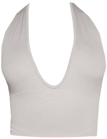 Stone Structured Contour One Shoulder Crop Top   PrettyLittleThing USA
