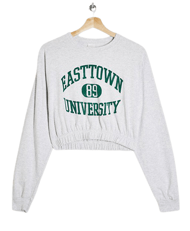 Topshop long sleeve crop collegiate top | ASOS