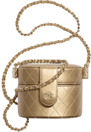 Small Clutch with Chain, metallic lambskin & gold metal, gold - CHANEL