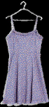 Cami Ruffle-Hem Mini Dress in Summer Vines