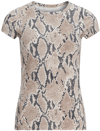 Snakeskin Fitted Crew Neck Tee | Express