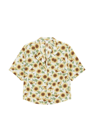 Cropped shirt blouse - Sunflower print - Shirts & Blouses - Monki WW