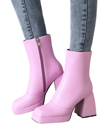 Square Toe Side Zip Chunky Boots   SHEIN USA