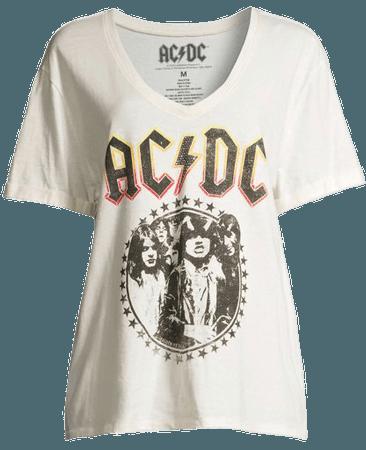Ivory Scoop - Scoop Women's AC/DC V-Neck Boyfriend Graphic T-Shirt - Walmart.com - Walmart.com