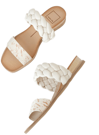 Dolce Vita Persey - Fawn Calf Hair Sandals - Wedge Sandals - Lulus