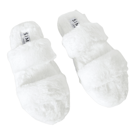 Courtney White Fluffy Faux Fur Double Strap Slippers