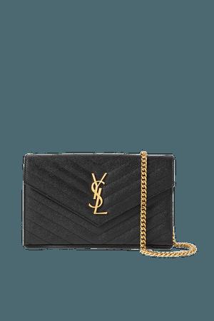 Monogramme Mini Quilted Textured-leather Shoulder Bag - Black