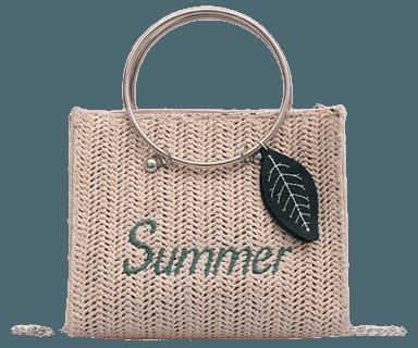 KABOER Summer New Straw Rattan Shoulder Bag Women Girl Leaves Pendant Round Ring Rattan Woven Chain Bag Summer Beach Bag - Walmart.com