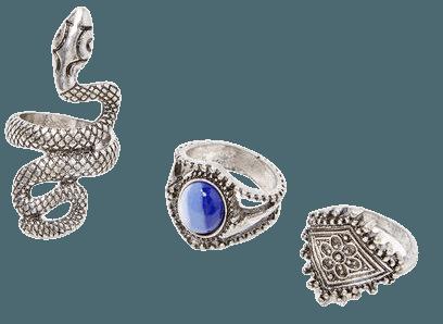 Snake & Faux Gem Ring Set