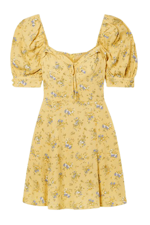 Lillet Bow-embellished Floral-print Georgette Mini Dress - Yellow