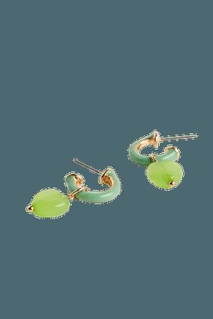 Elodie Heart Charm Enamel Hoop Earring | Urban Outfitters