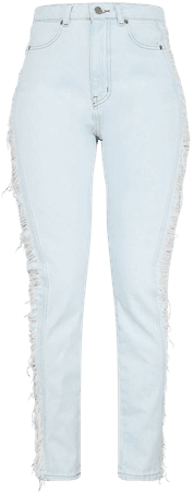 Light Blue Wash Ripped Side Straight Leg Jeans | PrettyLittleThing USA