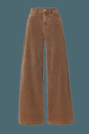 Light brown Le Palazzo wide-leg cotton-blend corduroy pants | FRAME | NET-A-PORTER