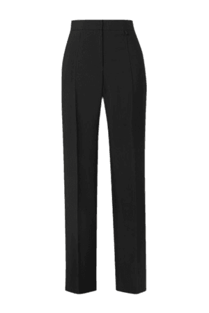 Pleated Wool And Mohair-blend Tapered Pants - Black