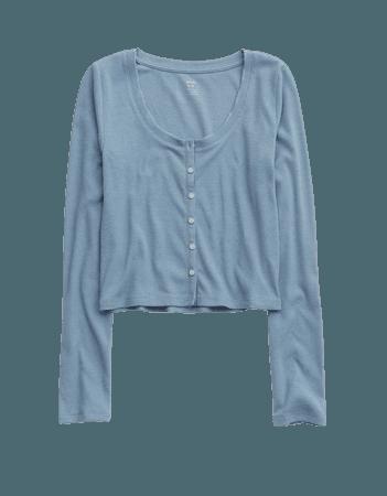 Aerie Ribbed Long Sleeve Shirt
