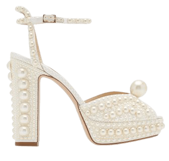 Sacaria Pearl-Embellished Satin Platform Sandals By Jimmy Choo | Moda Operandi