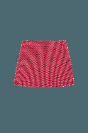 Red jacquard cut-out mini skirt - pull&bear